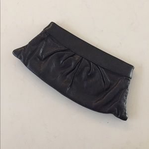 LAUREN MERKIN Black Leather Clutch